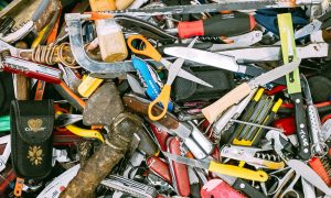 Tons of items like scissors and tools that could be recycled.